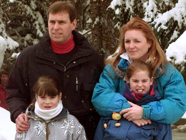 Prince Andrew and Sarah Ferguson with their daughters, Princesses Beatrice (R) and Eugenie, in 1999. Picture: Supplied