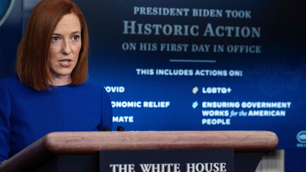 Jen Psaki said she would work to rebuild the trust of the American people as part of an all-female senior communications team. Picture: AFP