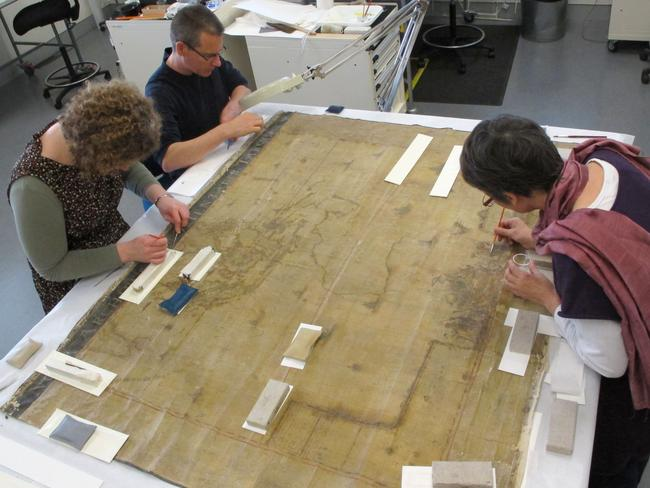 One of the rarest maps undergoing preservation.