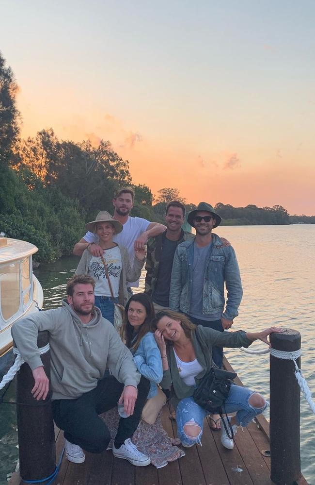 The Hemsworths and friends relax on Richard Branson's private island.