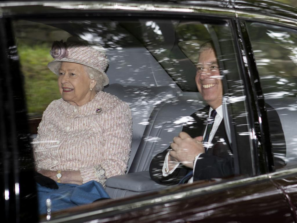 Queen Elizabeth II and Prince Andrew leave Crathie Kirk after a Sunday morning church service, in Crathie, Scotland. Picture: AP