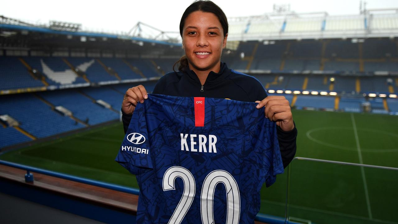 Sam Kerr pictured at Stamford Bridge after signing for Chelsea.