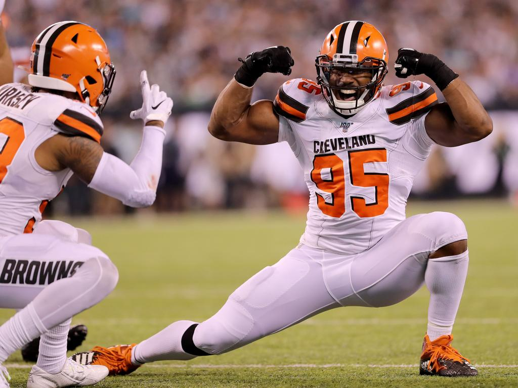 Myles Garrett celebrates one of his nine sacks from this season. Picture: Elsa/Getty Images
