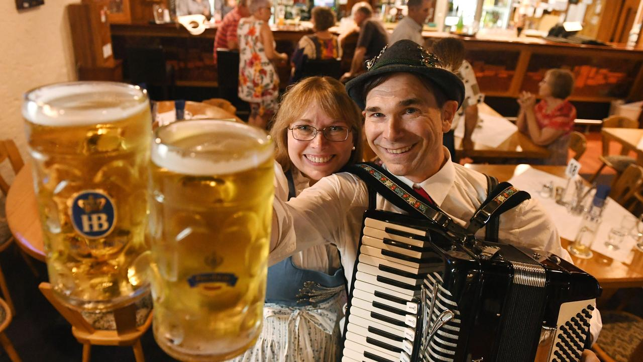Yvonne and Paul Smith celebrate last drinks at the German Club in the city. Picture: Tom Huntley