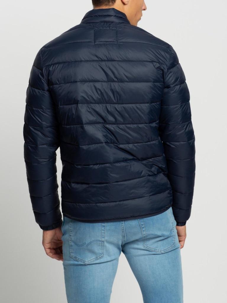Jack & Jones Collared Puffer jacket in navy blazer. Image: The ICONIC.