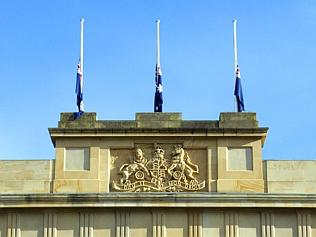 Politics flags at Parliament House fly at half mast for the former Premier of Tasmania Jim Bacon who passed away 20th June 2...