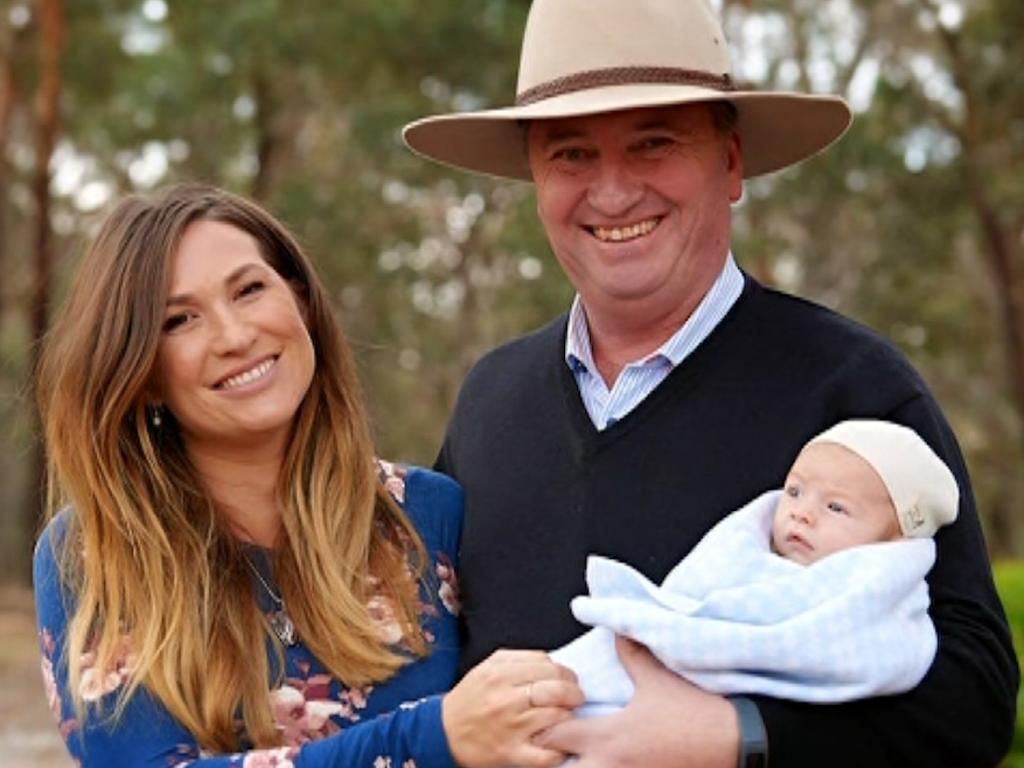 Vikki Campion and Barnaby Joyce with Sebastian in June 2018. Picture: Channel 7