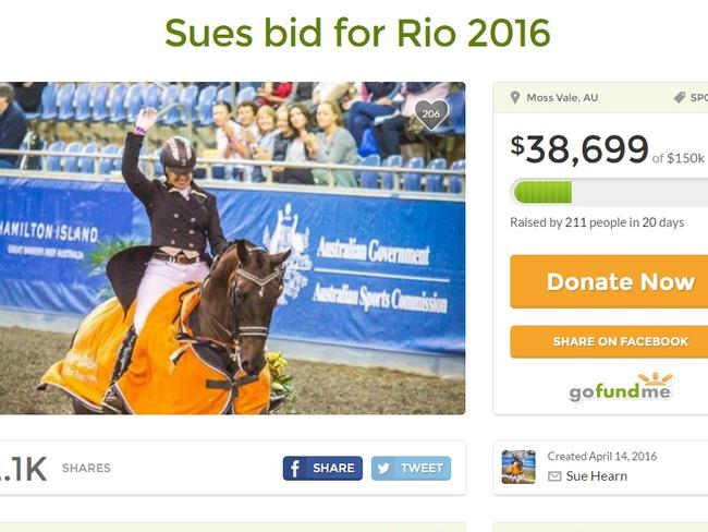 Equestrian Sue Hearn has set a $150,000 target to get her to Rio. Picture: Supplied