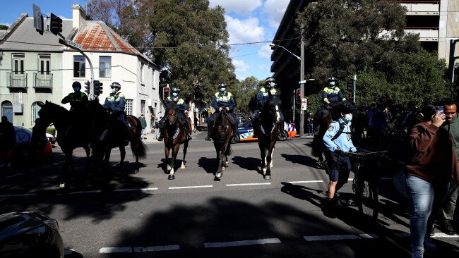 """Police arrested and charged 60 people who attended the Sydney """"Freedom Rally"""" on Saturday amid strict lockdown measures. Picture: Getty Images"""