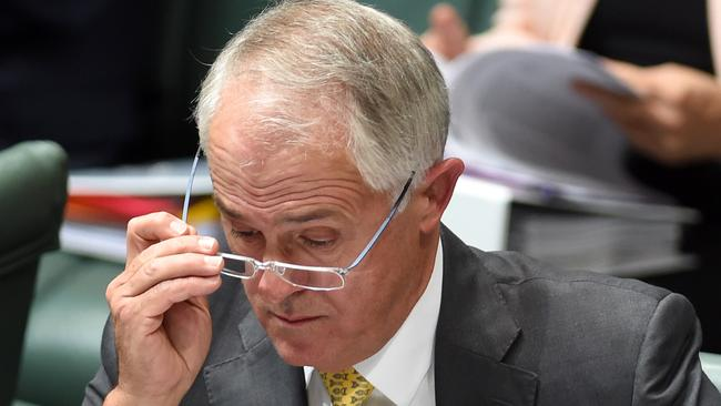 Australian Prime Minister Malcolm Turnbull reacts during House of Representatives Question Time at Parliament House in Canberra, Thursday, Feb. 04, 2016. (AAP Image/Lukas Coch) NO ARCHIVING