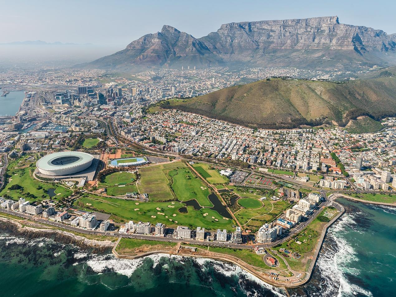 Cape Town, South Africa (aerial view) shot from a helicopter