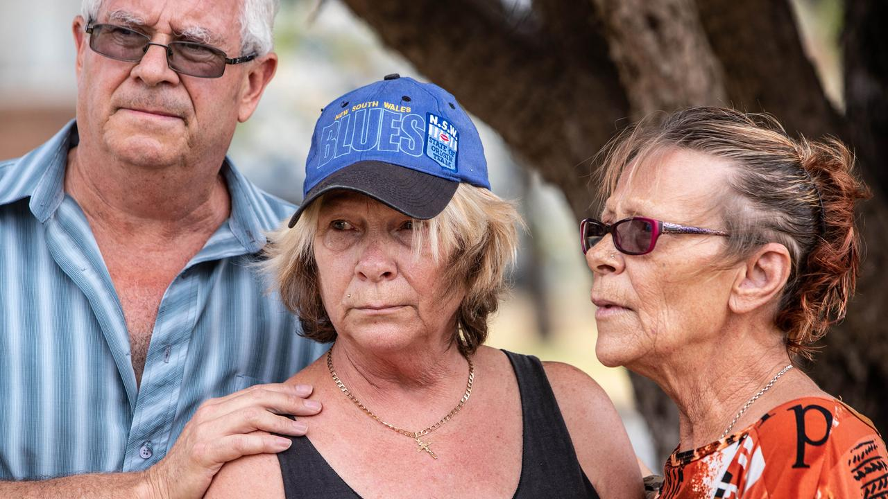Lesley Newman (centre) is supported by her twin sister Kim Blythe and their friend John while speaking to the media in Glen Innes on 20 January 2019. Picture: Julian Andrews