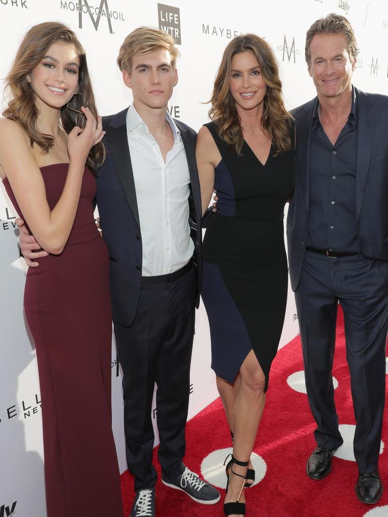 Kaia Gerber, Presley Gerber, Cindy Crawford and Rande Gerber. Picture: Getty Images