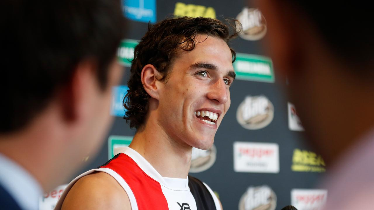 Max King speaks with media after being recruited by St Kilda in the National Draft.