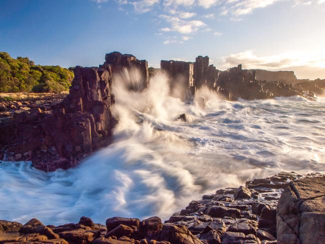 6. KIAMA, NSW: OK, I got up for two sunrises. This was on the way home at Kiama, a place I may have nominated after seeing lots of amazing photos on Instagram from this location, known as Bombo Quarry. Unfortunately the sun took a little while to come out the day I was there but the waves were really crashing into these rocky pillars. Picture: Alistair Paton