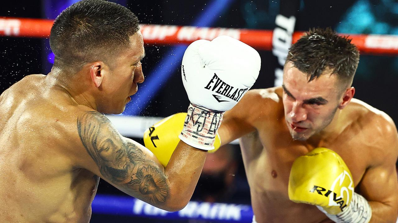 Andrew Moloney (right) lost his world superflyweight title to Joshua Franco in June. Picture: Top Rank via Getty Images