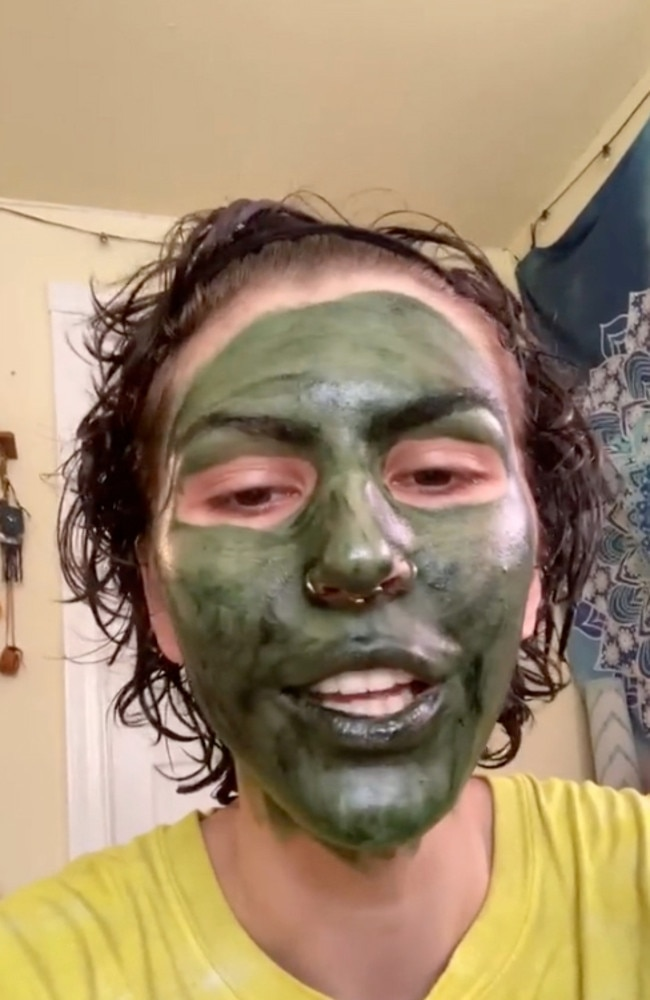 The woman applied a chlorophyll face mask to help nourish her troublesome skin right before a job interview. Picture: TikTok/trippitreat