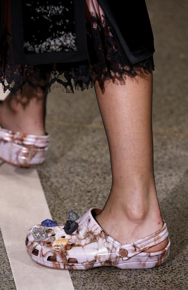 Crocs featured in the Christopher Kane show during London Fashion Week.