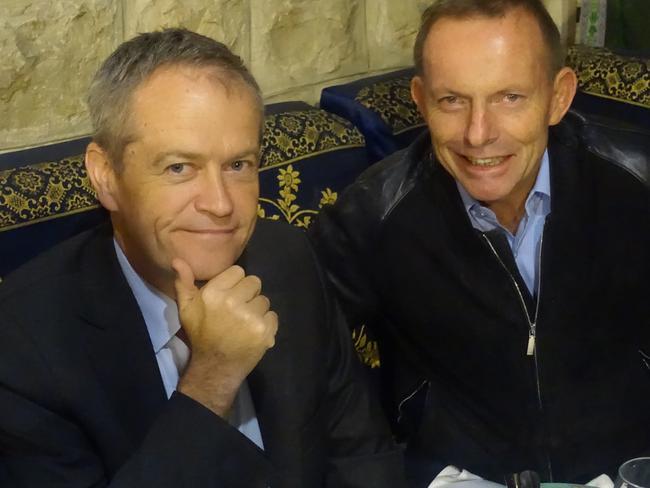 Bill Shorten with Tony Abbott recently in Israel. Picture: Twitter