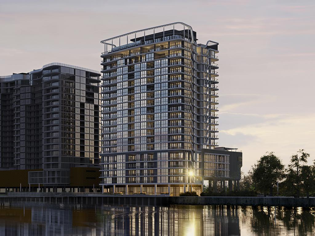 An artist impression of luxury Rivello apartment complex on Wharf St, Hamilton which is due to begin construction in late 2021. Picture: Supplied