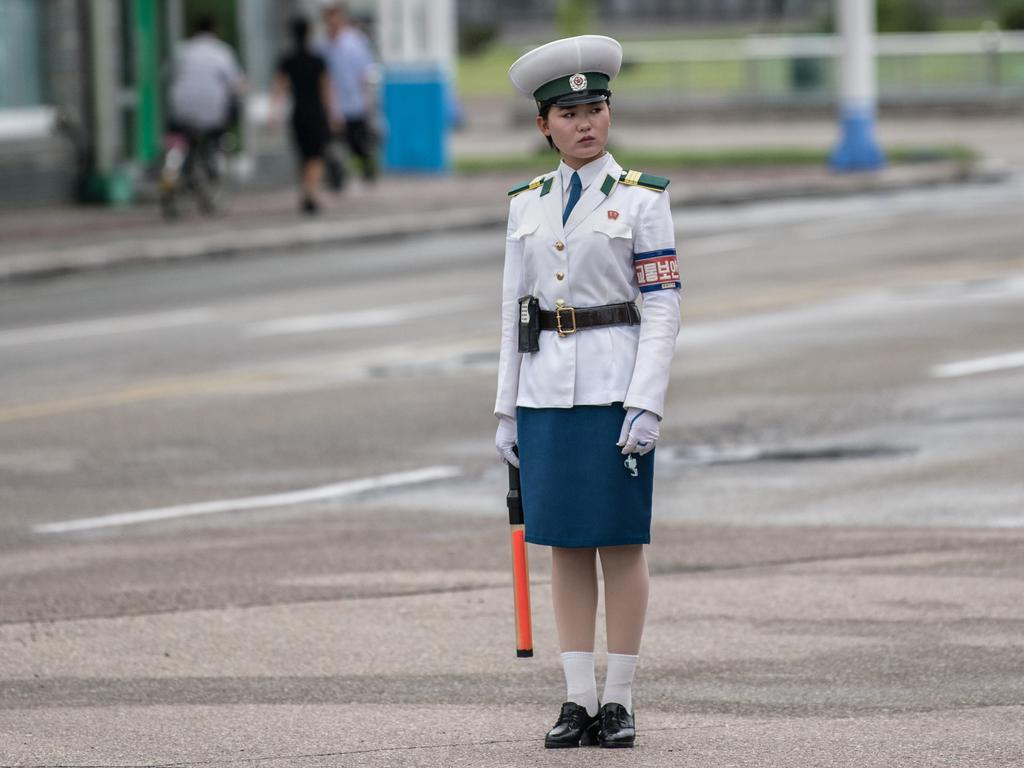 A traffic police officer works at a junction on August 24, 2018 in Pyongyang, North Korea.  Picture: Carl Court/Getty Images