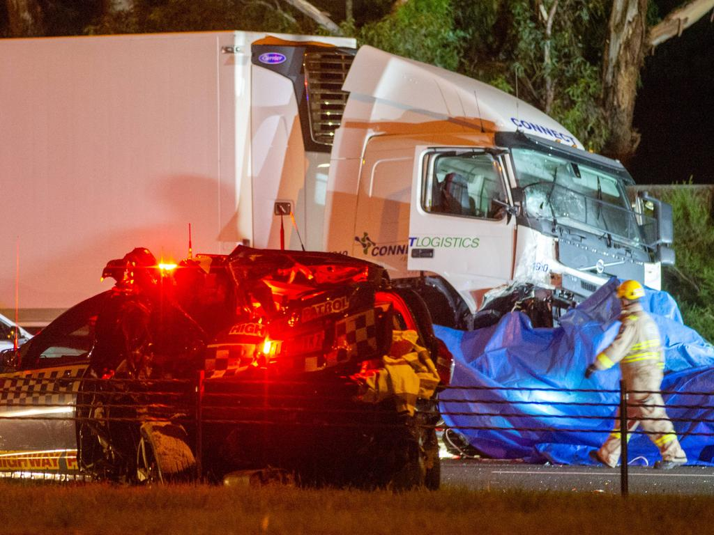 The scene of the crash where four police officers died. Picture: Mark Stewart