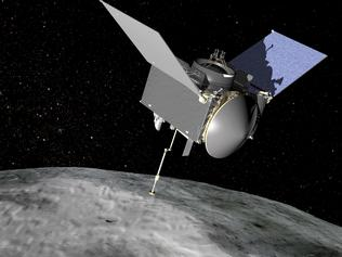 An artist's impression of the Osiris-REX spacecraft near the asteroid Bennu.  CREDIT: NASA