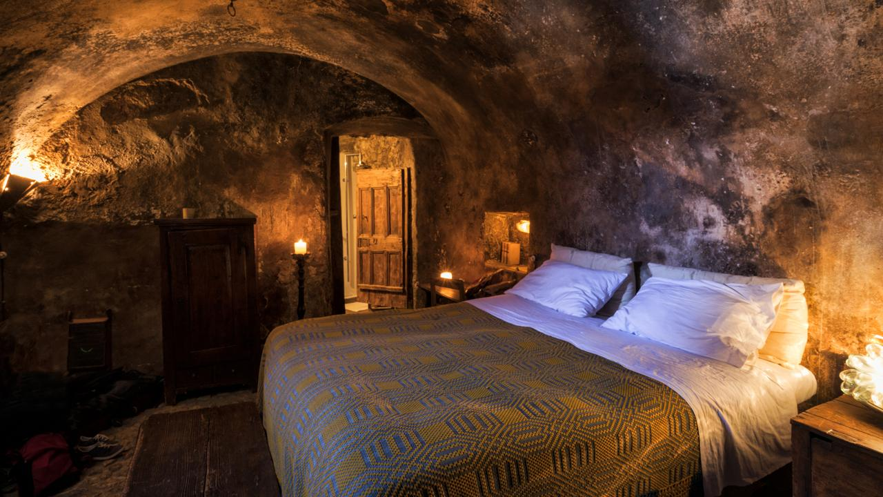 A cave-like room at a local hotel in the Italian town.