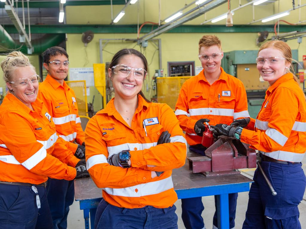BMA apprentice Summer Aprile (centre) with workmates (from left) Zoe Hodkin, Joshua White, Rory Minty and Chloe Tougher. Picture: Daryl Wright