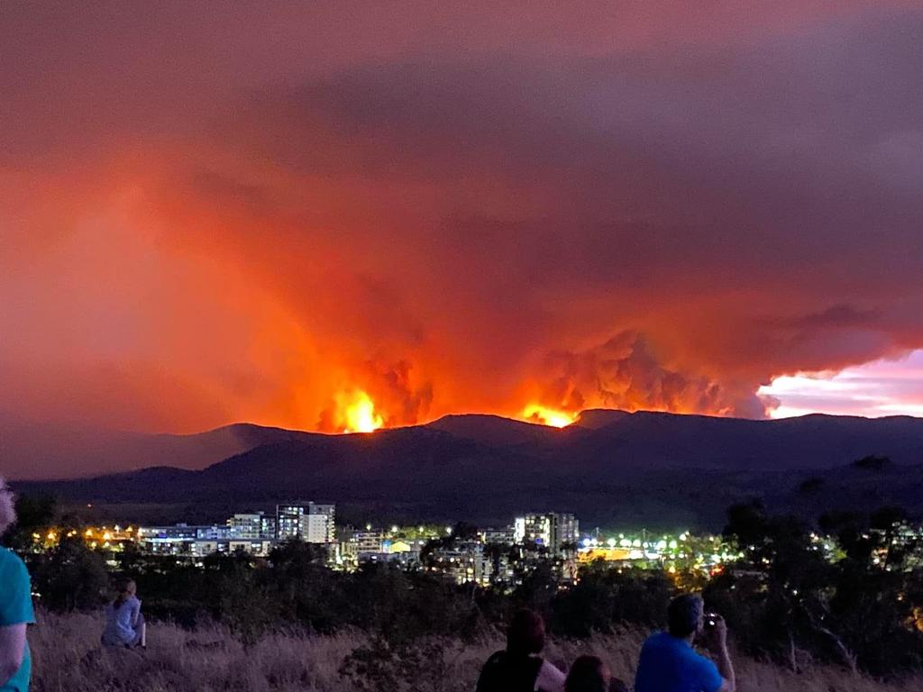 The Orroral fire is moving closer to the city. Picture: Josh Cox
