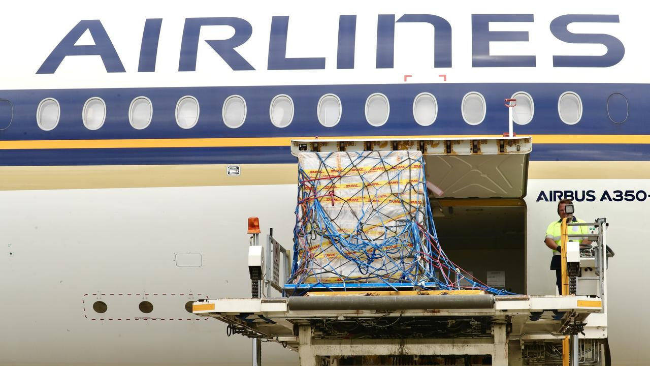 Pfizer vaccine arrives into Sydney International Airport on Singapore Airlines, February 15. Picture: Adam Taylor/PMO