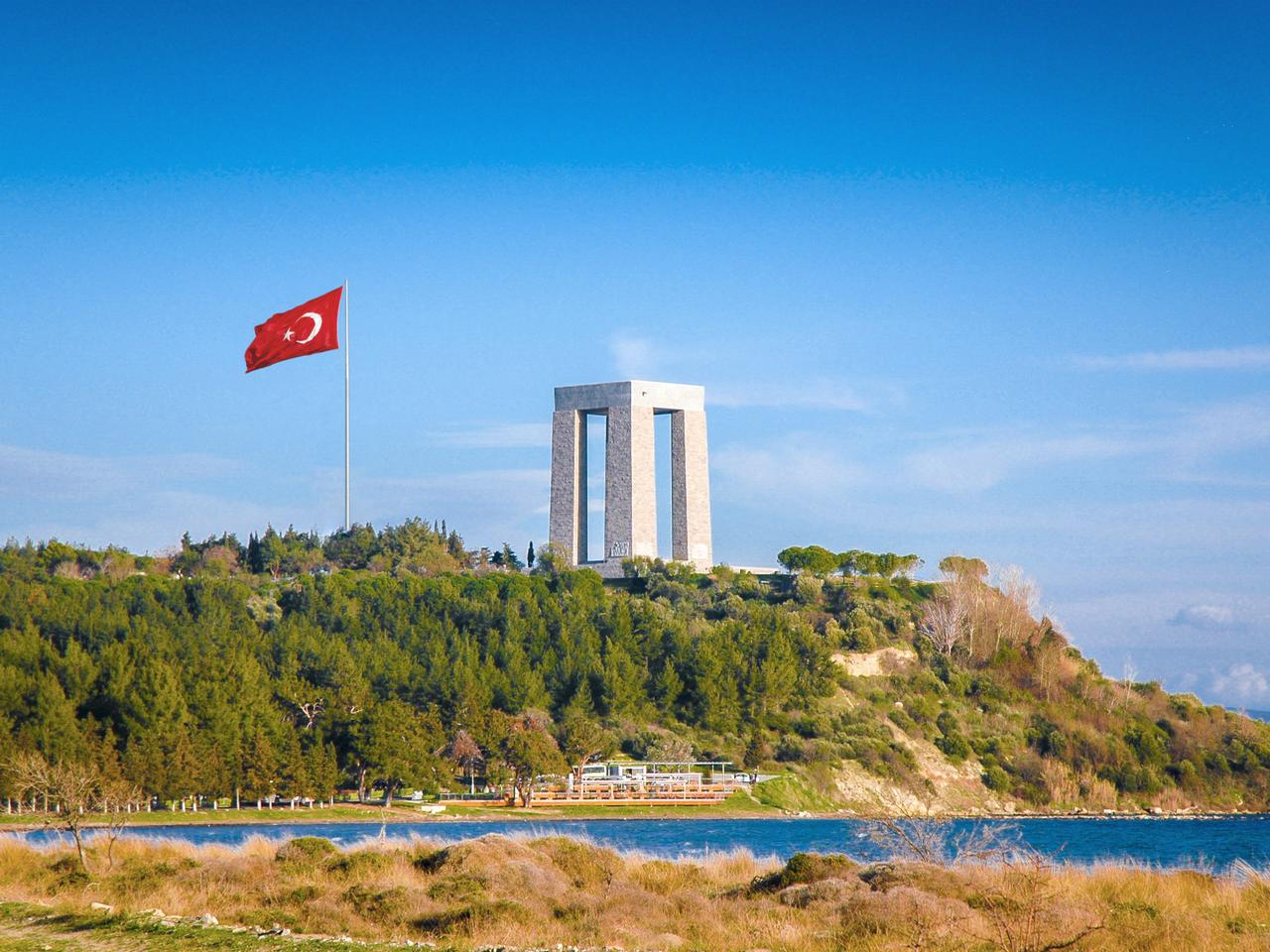 Canakkale Martyrs' Memorial with Turkish Flag, Turkey