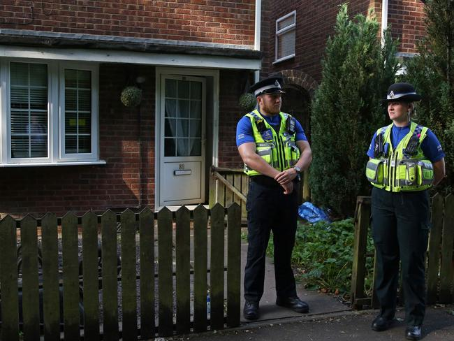 Police officers stand guard outside a residential property in Cardiff, south Wales as investigations continue into a van attack in Finsbury Park, north London on June 19, 2017. Picture: Geoff Caddick