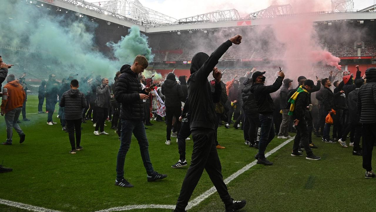 Manchester United fans mounted a protest. (Photo by Oli SCARFF / AFP)