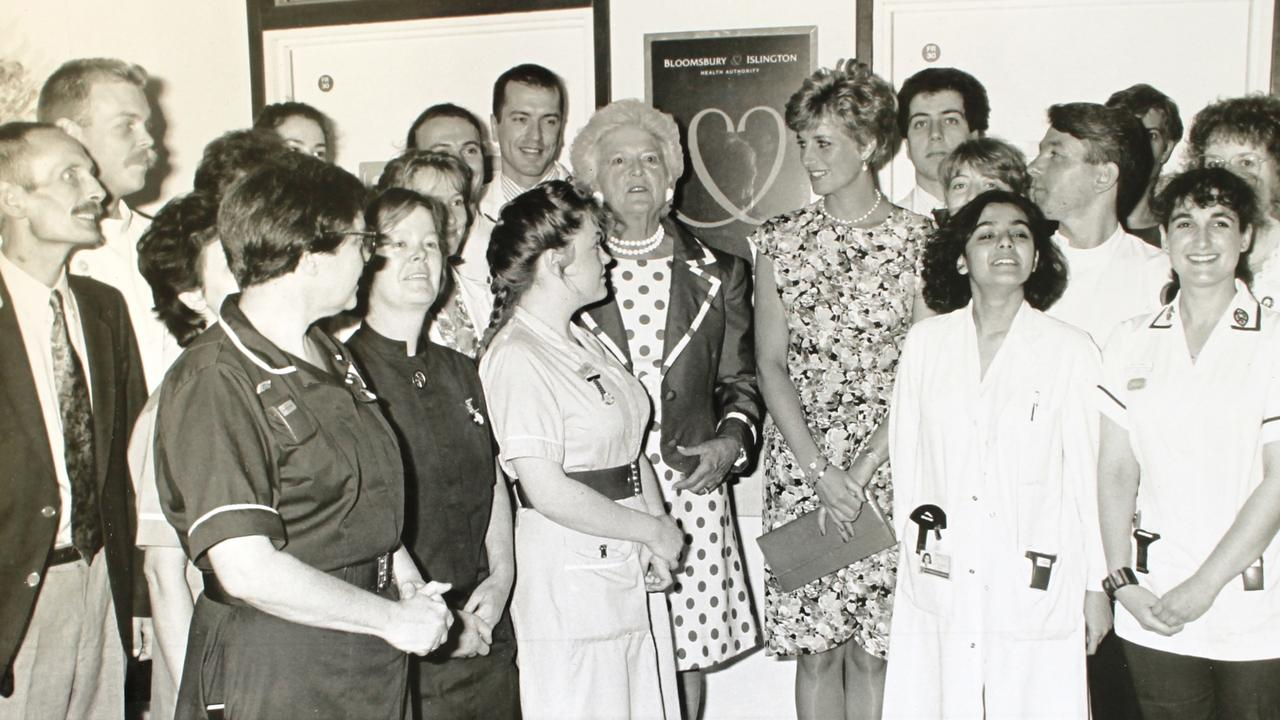 In 1991, US first lady Barbara Bush and Princess Diana opened an HIV-AIDS ward.