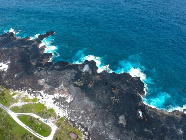 WITNESS NATURE'S SHOW AT THE ALOFAAGA BLOWHOLE These blowholes formed by lava flows explode with high-pressure water bursts every time a wave comes in, creating an awesome natural display that you could watch all day. Look out to the ocean and you could also spot a whale or two from this spot.
