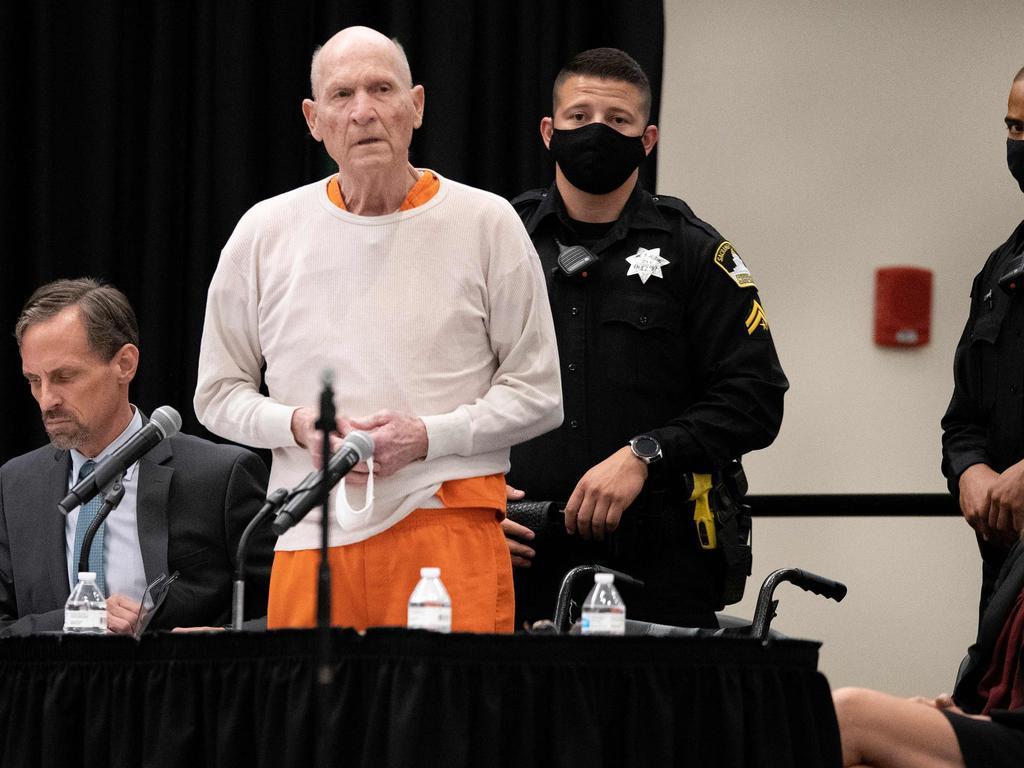 Joseph James DeAngelo Jr speaks at his sentencing hearing held in Sacramento, California. Picture: Santiago Mejia/AFP