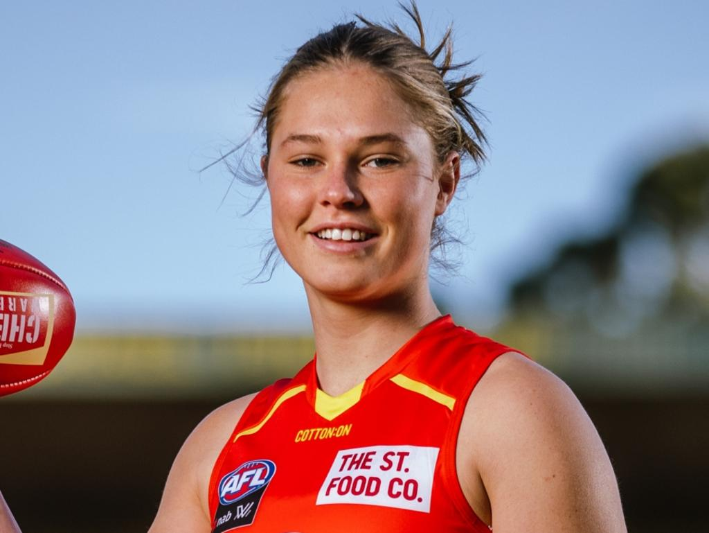 MELBOURNE, AUSTRALIA - JULY 27: Number 1 AFLW draft pick for 2021, Charlie Rowbottom of the Oakleigh Chargers poses for a photograph in her Gold Coast Suns uniform at Glenferrie Oval on July 27, 2021 in Melbourne, Australia. (Photo by Michael Willson/AFL Photos via Getty Images)