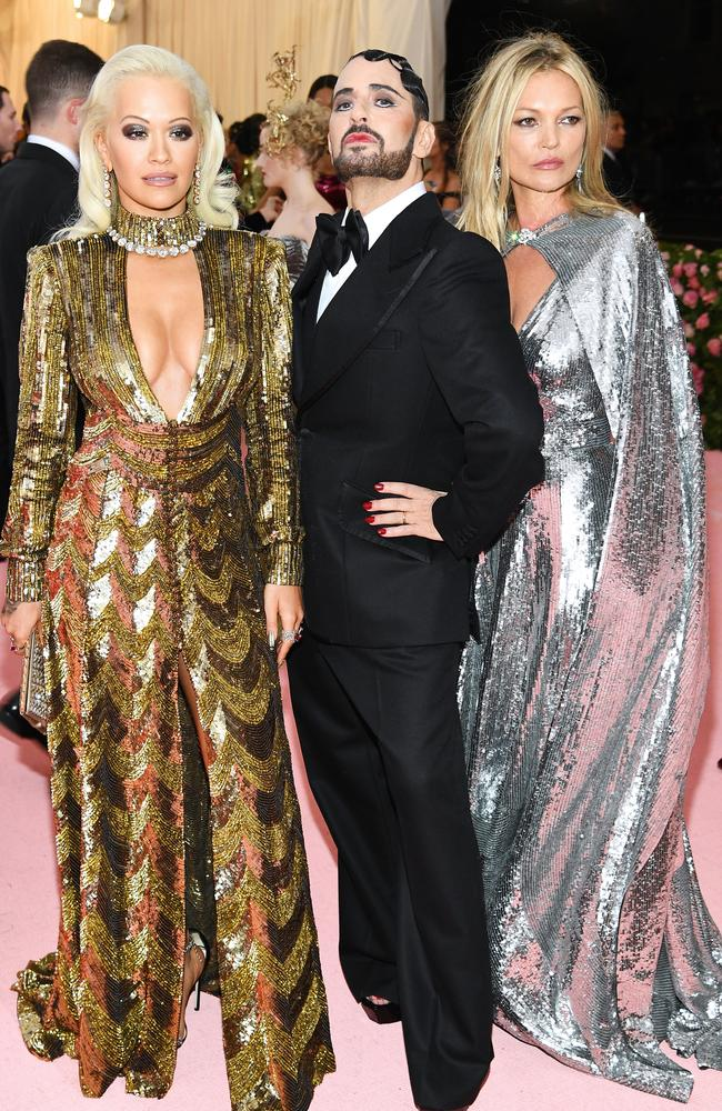Rita Ora, Marc Jacobs and Kate Moss at the 2019 Met Gala Celebrating Camp: Notes on Fashion. Picture: Dimitrios Kambouris/Getty Images for The Met Museum/Vogue.