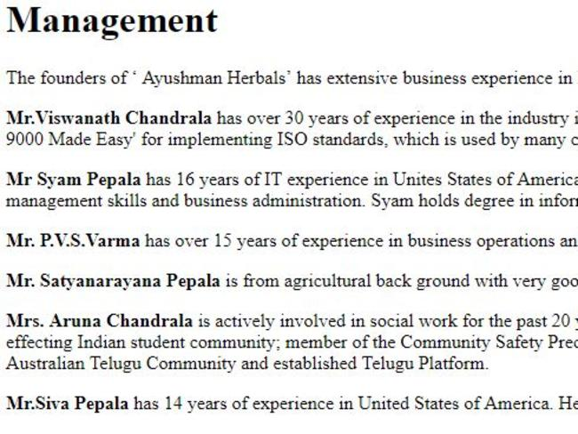 Ms Chandrala (fifth from the top) was listed on the company's Management page.