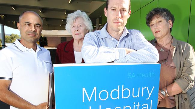 LtoR: Cr Paul Barbaro of Wynn Vale (Tea Tree Gully Council), Lesley Purdom of Ridgehaven, Cr Damian Wyld of Modbury North (Tea Tree Gully Council) and Margaret Riley of Highbury in font of the Emergency Department, at Modbury Hospital. They are concerned for the Minister's current talk of potentially closing the hospital's Emergency Department and having locals either going to Salisbury or the Royal Adelaide for ED treatment. Picture: Stephen Laffer