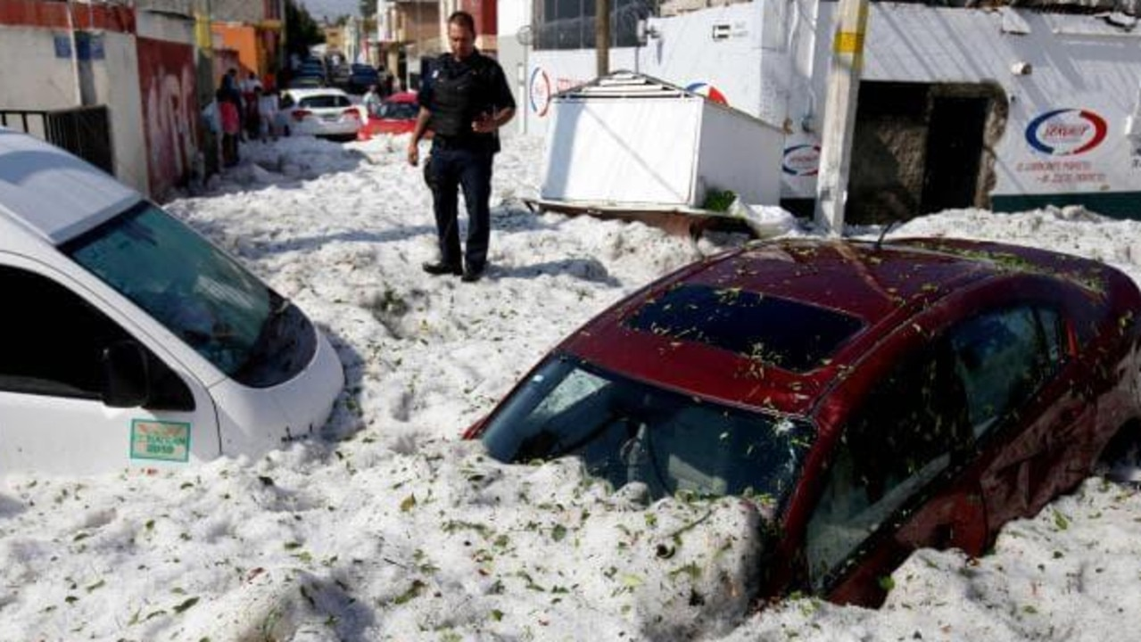 The hailstorm buried Guadalajara in Mexico under 1.5m of ice. Picture: Ulises Ruiz/AFP