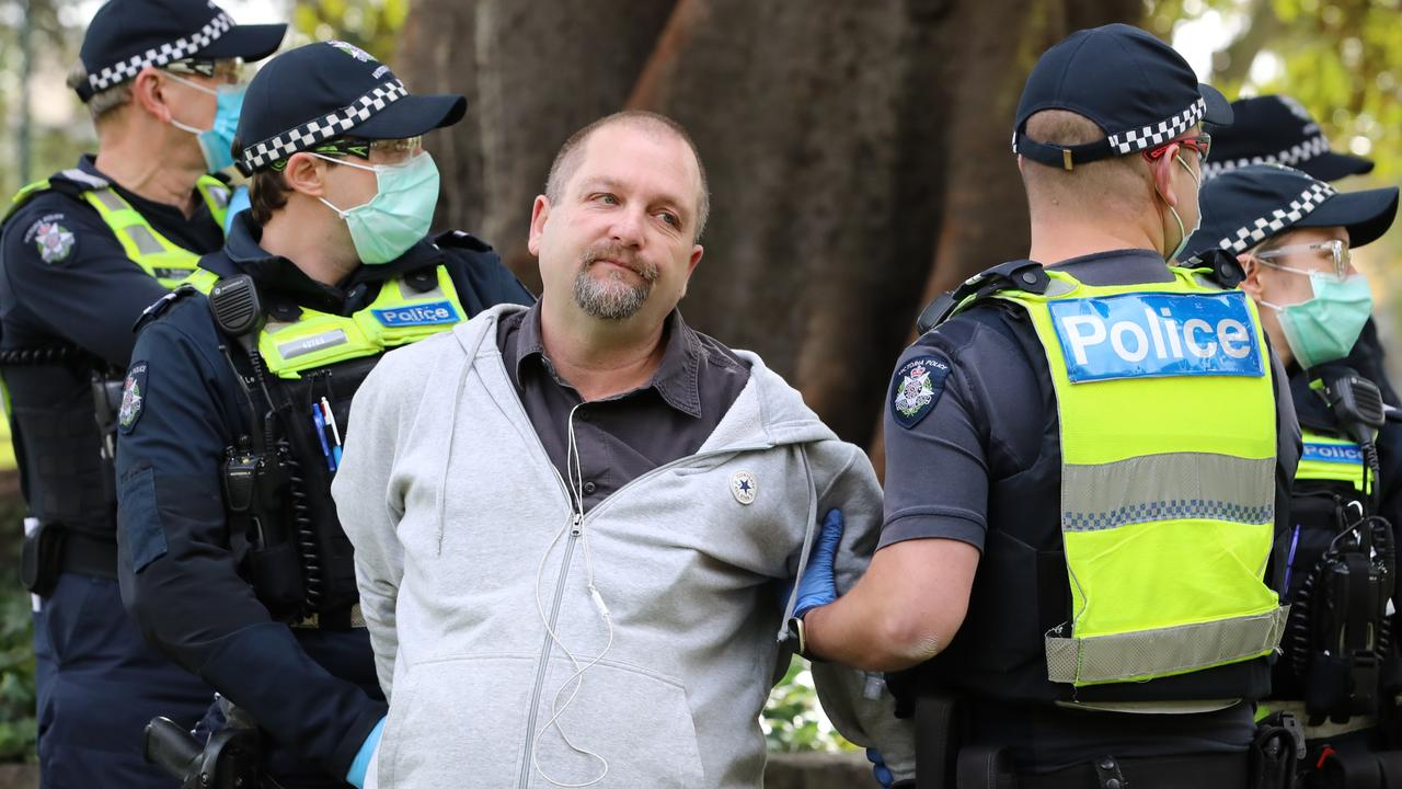 Police handcuffed and pepper sprayed several people at an anti-lockdown protest in Melbourne on Saturday. Picture: Alex Coppel.