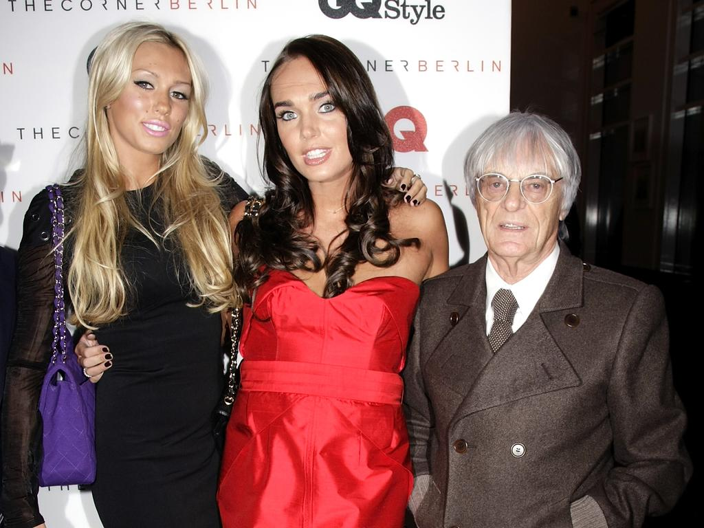 Bernie Ecclestone with daughters Petra and Tamara. (Photo by Florian Seefried/Getty Images)