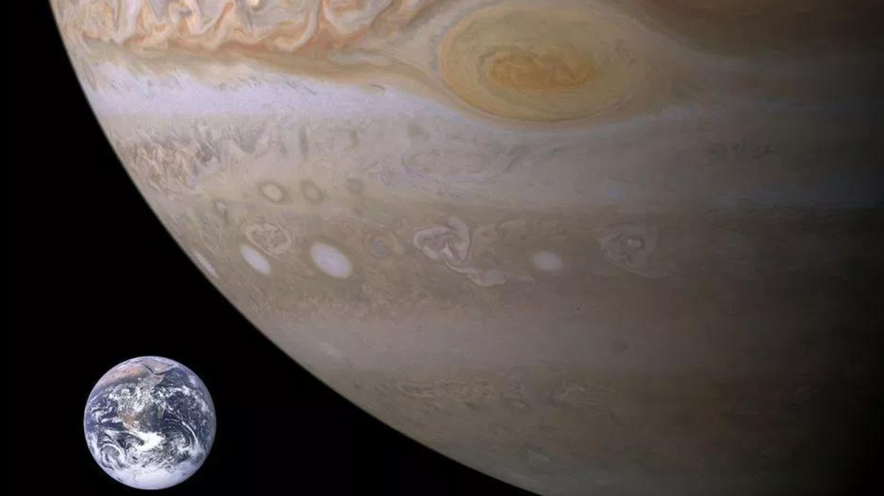 This image shows the size of the Great Red Spot in comparison to Earth. Picture: NASA