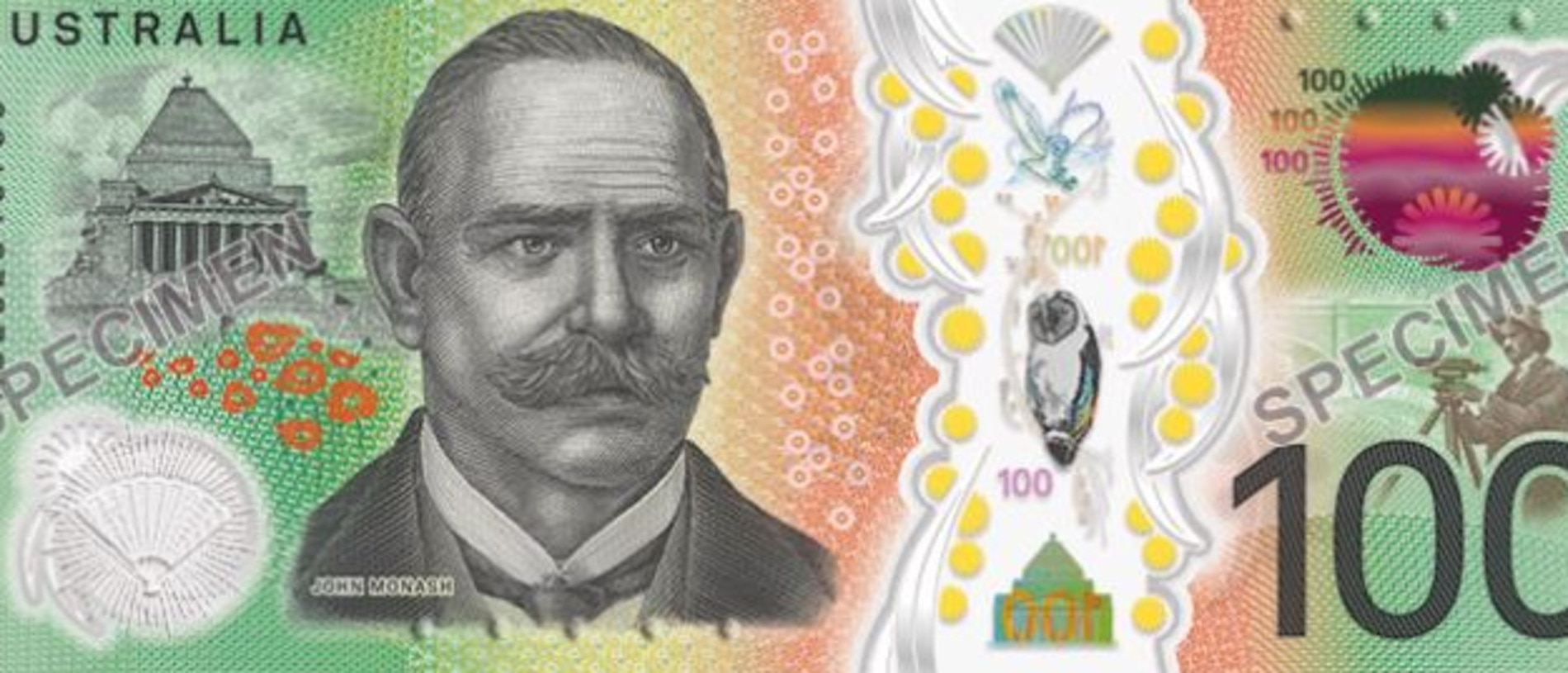 The other side of the $100 banknote featuring Sir John Monash. Picture: Reserve Bank