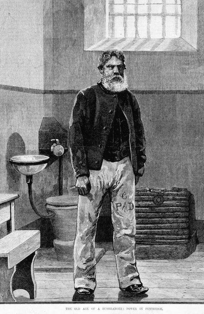 Print published in The Australasian Sketcher showing Harry Power in old age in Pentridge Prison cell. Picture: State Library of Victoria