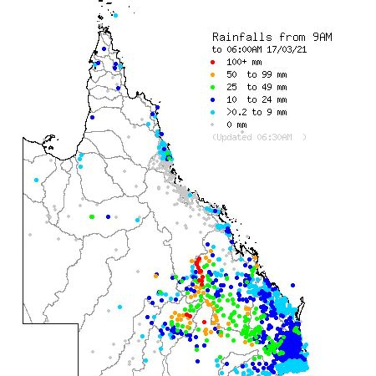 Parts of central Queensland have received more than 100mm in the last 24 hours. Picture: Bureau of Meteorology.
