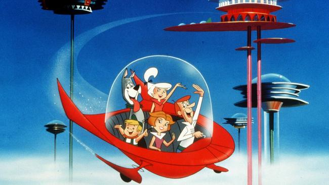 17/06/1999 PIRATE: Scene from 1999 film |Jetsons : The Movie|, featuring family travelling in flying saucer. spacecraft movies animated animation families character Pic. Supplied