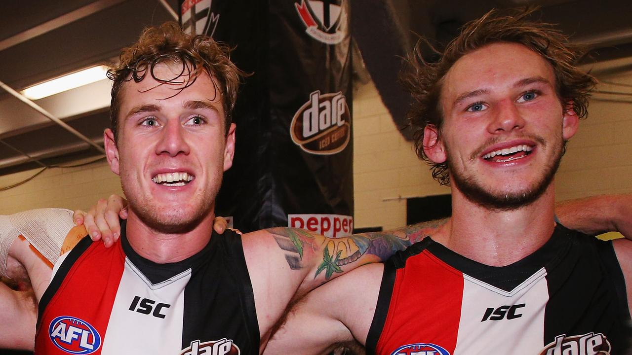 Tim Membrey and Jimmy Webster. (Photo by Michael Dodge/Getty Images)